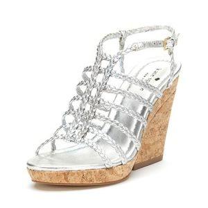 Kate Spade Felix Cork Wedge Sandal Silver Strappy